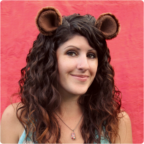 wood land critters bear ears hair clip party accessories