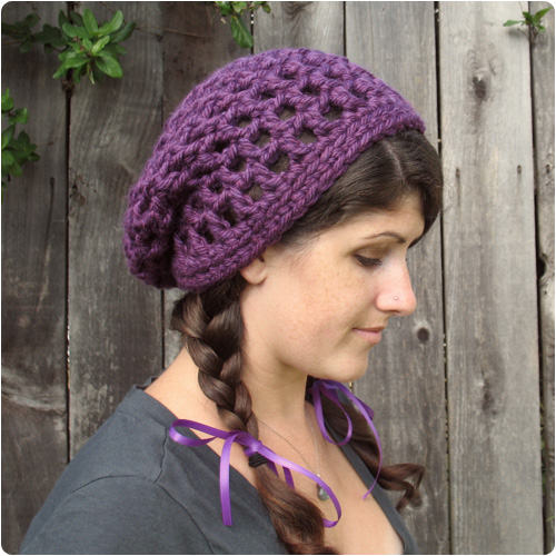 Easy Crochet Slouchy Hat Patterns : Free Crochet Pattern: Waffle Cone Slouchy Hat