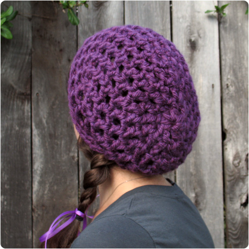 Crochet Patterns Super Bulky Yarn : Free Crochet Pattern: Waffle Cone Slouchy Hat