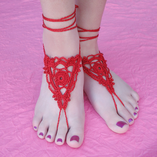 Goddess Barefoot Sandals Free Crochet Pattern