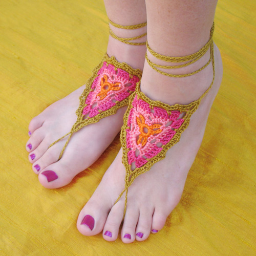 Gypsy Barefoot Sandals Crochet Pattern