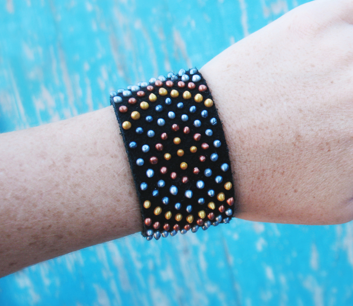 3a83a115ab6 DIY Faux Beaded Leather Cuff Bracelet Tutorial