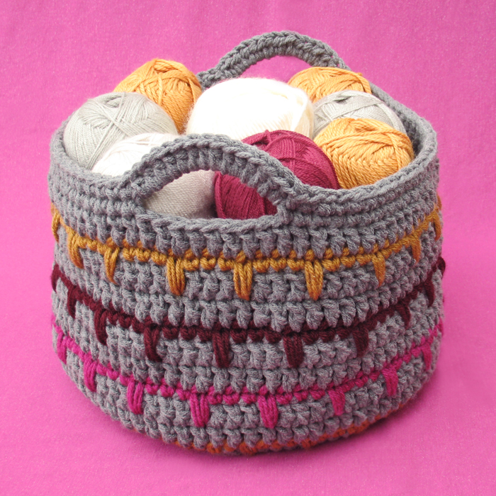 Free Pattern Crochet Basket : Free Crochet Pattern: Spikes Yarn Basket