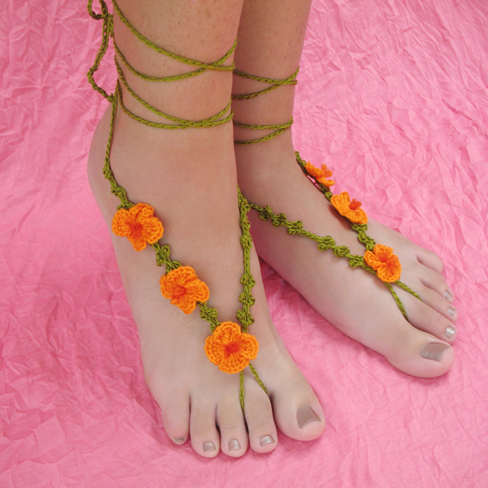 Poppy Barefoot Sandals Crochet Pattern